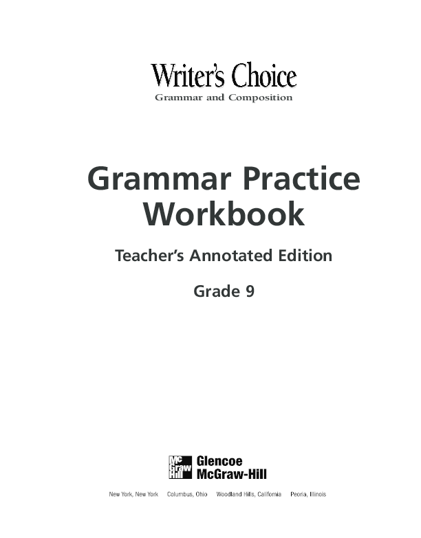 PDF) Grammar and Composition Grammar Practice Workbook Teacher's