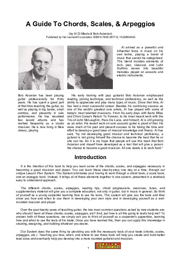 PDF) A Guide To Chords, Scales, & Arpeggios | Thiago Faria
