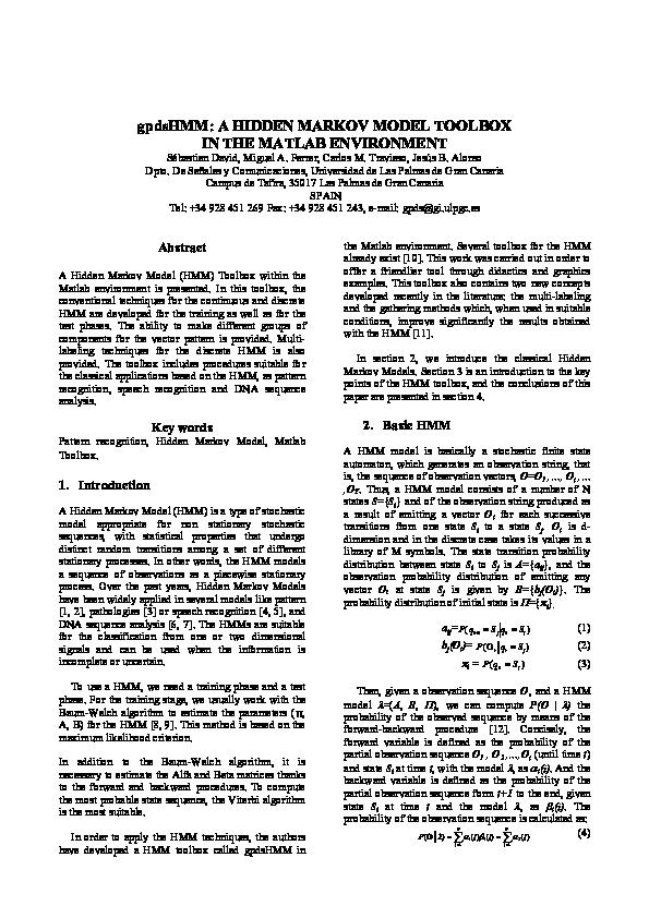 PDF) gpdsHMM: A HIDDEN MARKOV MODEL TOOLBOX IN THE MATLAB