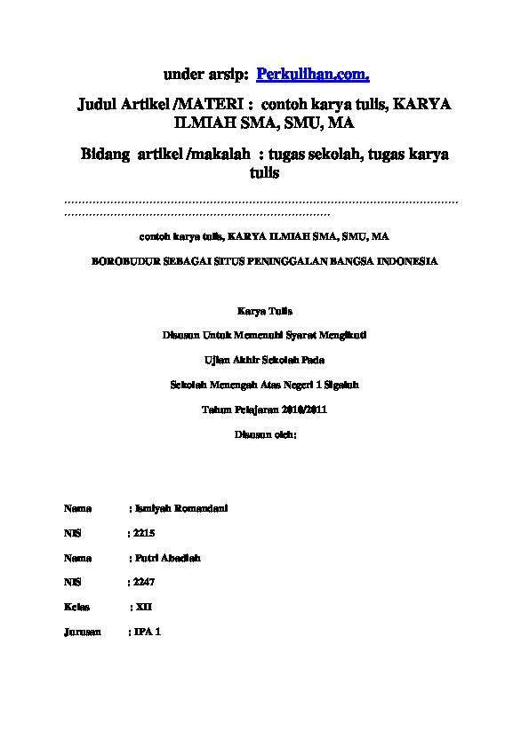 Karya Tulis Ilmiah Biologi Sma Kelas X Jurnal Doc