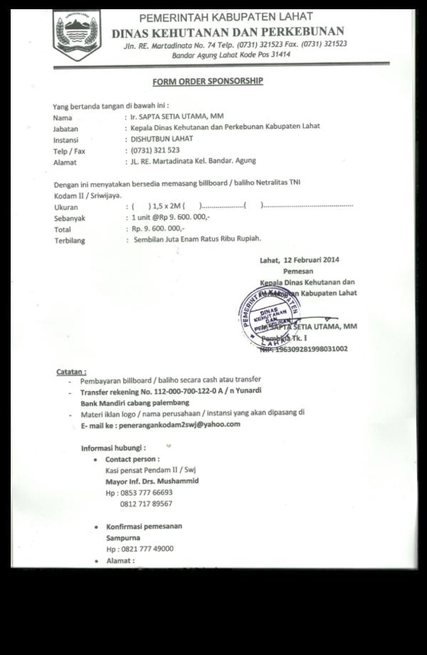 Pdf Form Order Sponsorship Yudha Susanto Academia Edu