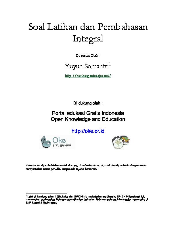 Pdf Soal Latihan Dan Pembahasan Integral Edbert Theda Academia Edu