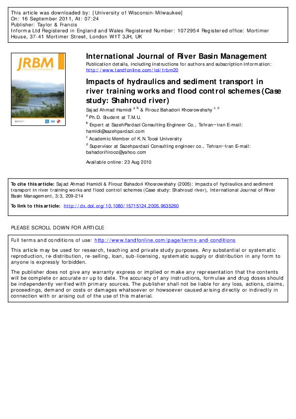 PDF) International Journal of River Basin Management Impacts of