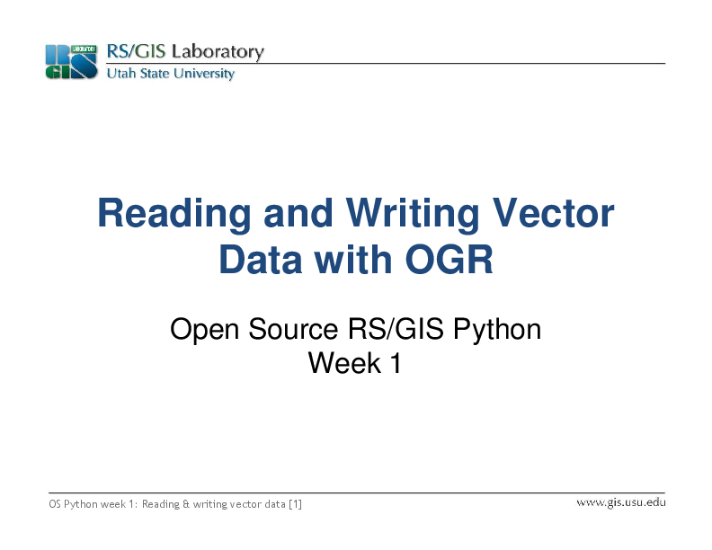 PDF) Reading and Writing Vector Data with OGR Data with OGR