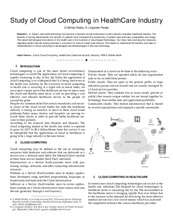 PDF) Study of Cloud Computing in HealthCare Industry