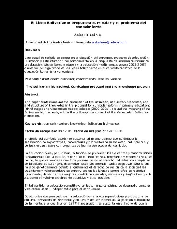 Doc El Liceo Bolivariano Paoala Velez Academia Edu