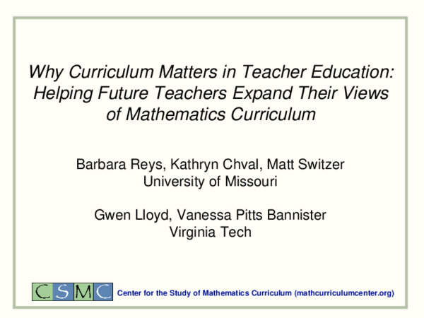 PPT) Why Curriculum Matters in Teacher Education: Helping Future
