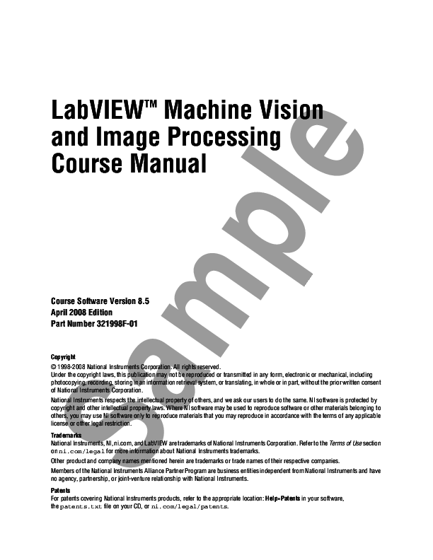 (PDF) LabVIEW TM Machine Vision and Image Processing