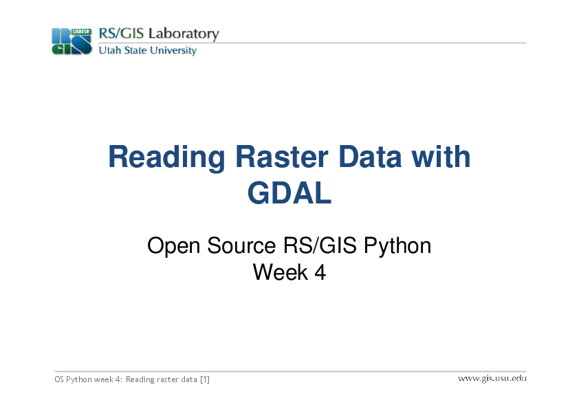 PDF) Reading Raster Data with GDAL | Welber Ferreira - Academia edu