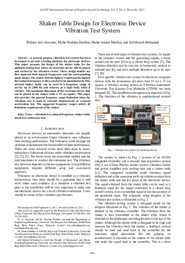 PDF) Shaker Table Design for Electronic Device Vibration