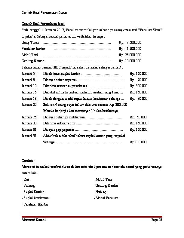 Doc 3 Contoh Soal Persamaan Dasar Asifa Nurfadilah Academia Edu