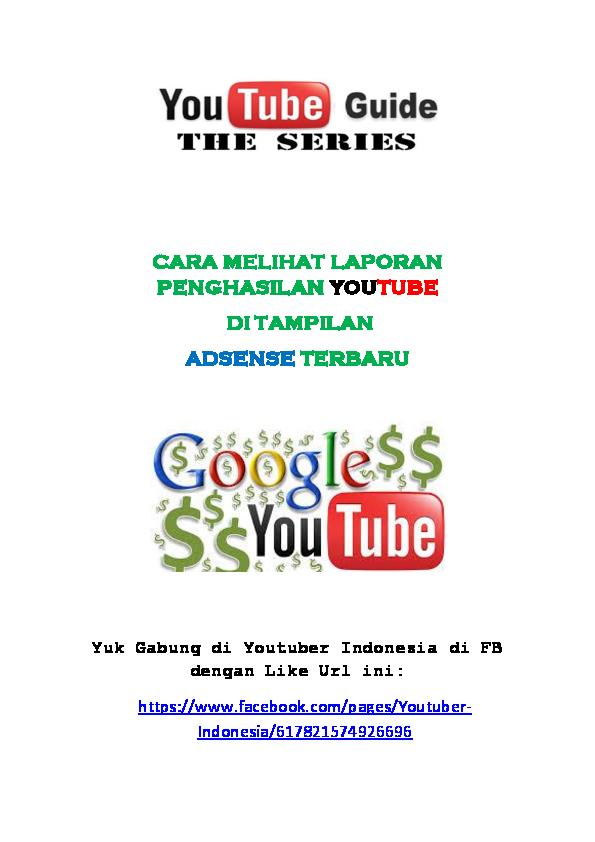 Pdf Cara Melihat Laporan Penghasilan Youtube Praja Sinaga Academia Edu