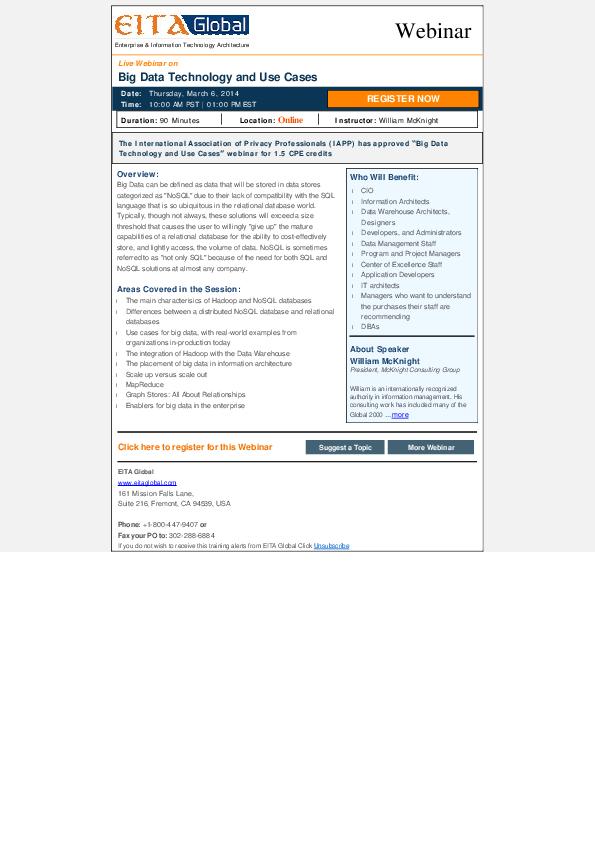 PDF) Enterprise & Information Technology Architecture Big Data