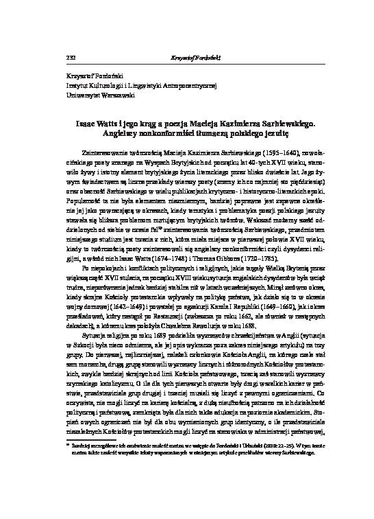 Pdf Isaac Watts I Jego Krąg A Poezja Macieja Kazimierza