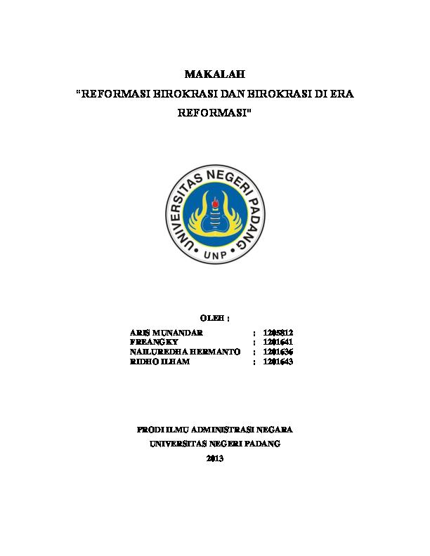 Pdf Makalah Reformasi Birokrasi Indonesia Nailuredha Hermanto Academia Edu