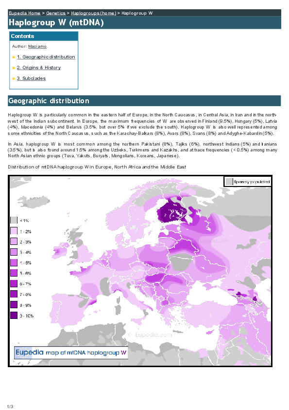 PDF) Origins and history of Haplogroup W (mtDNA) | Maciamo