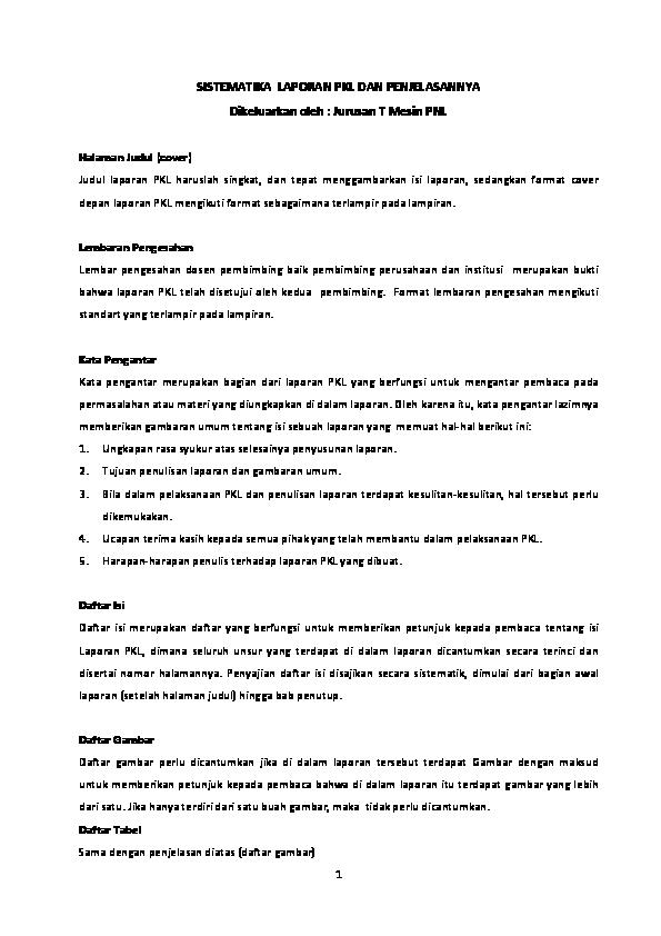 Sistematika Laporan Pkl Dan Penjelasannya Syafaruddin Siregar