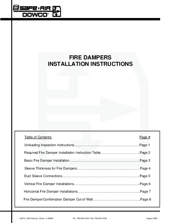 PDF) FIRE DAMPERS INSTALLATION INSTRUCTIONS | Luis Alfonso