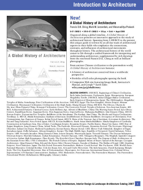 PDF) Introduction to Architecture A Global History of
