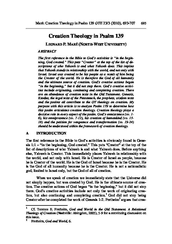 PDF) Creation theology in Psalm 139 | Leonard Mare