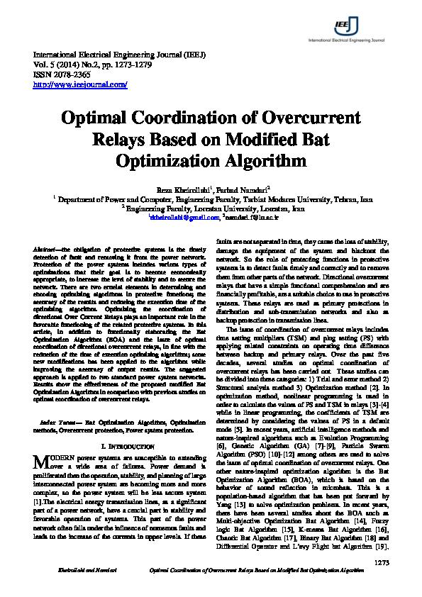 PDF) Optimal Coordination of Overcurrent Relays Based on