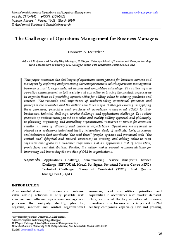 PDF) The Challenges of Operations Management for Business Managers