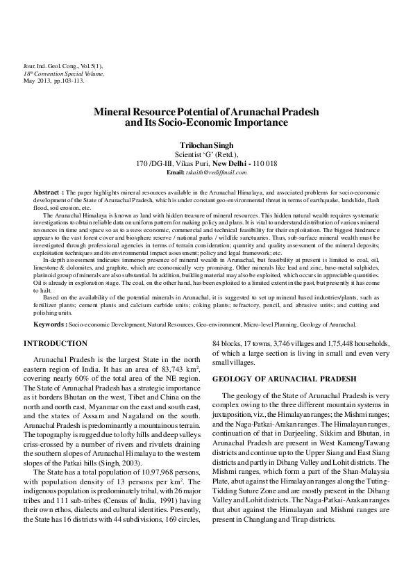PDF) Mineral Resource Potential of Arunachal Pradesh and Its Socio