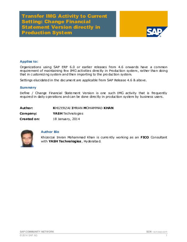PDF) SAP COMMUNITY NETWORK Transfer IMG Activity to Current Setting
