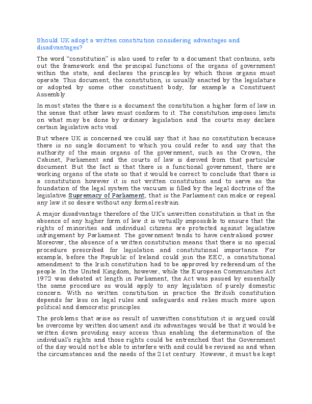 essay on flexibility of uk constitution