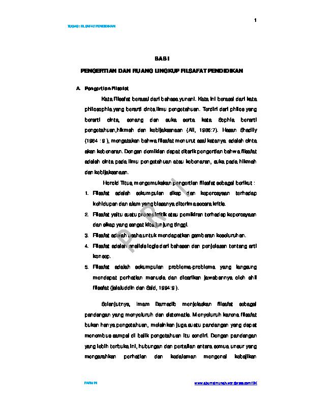 Pdf Bab I Pengertian Dan Ruang Lingkup Filsafat Pendidikan N Patriawan Academia Edu