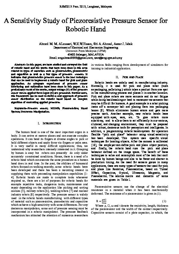 PDF) A Sensitivity Study of Piezoresistive Pressure Sensor