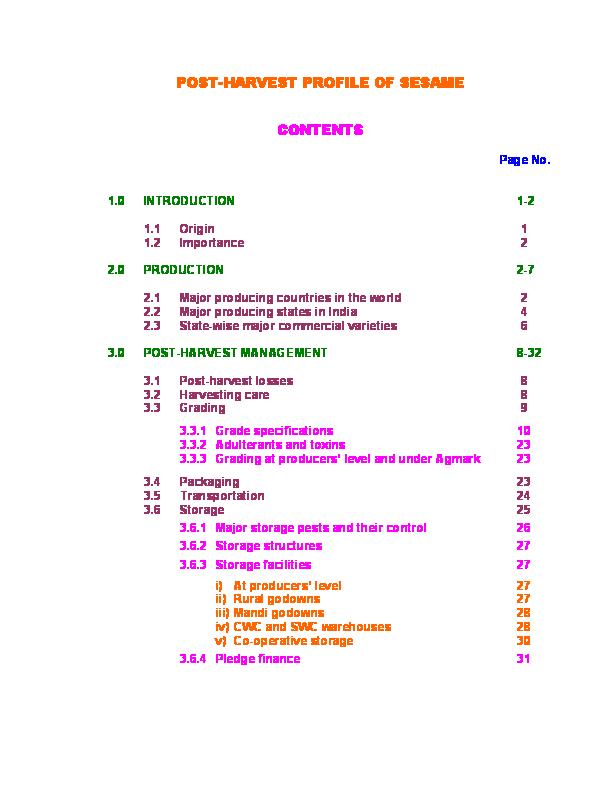 PDF) POST-HARVEST PROFILE OF SESAME CONTENTS | Kumar Anjaney