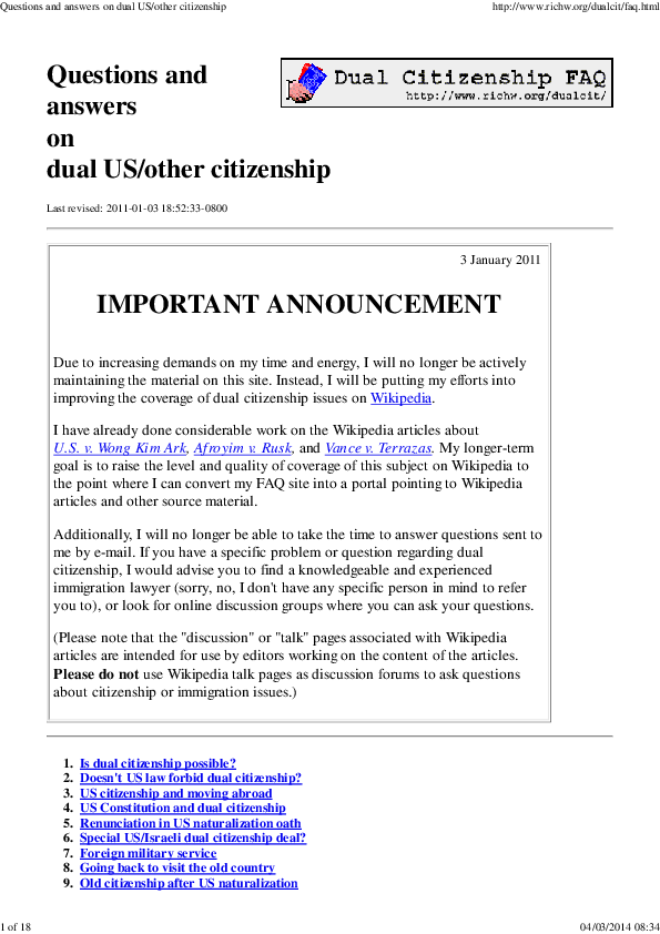 PDF) Questions and answers on dual US/other citizenship