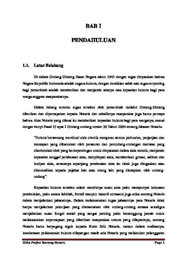 Doc Bab I Makalah Notaris Fitria Anggraeni Academia Edu