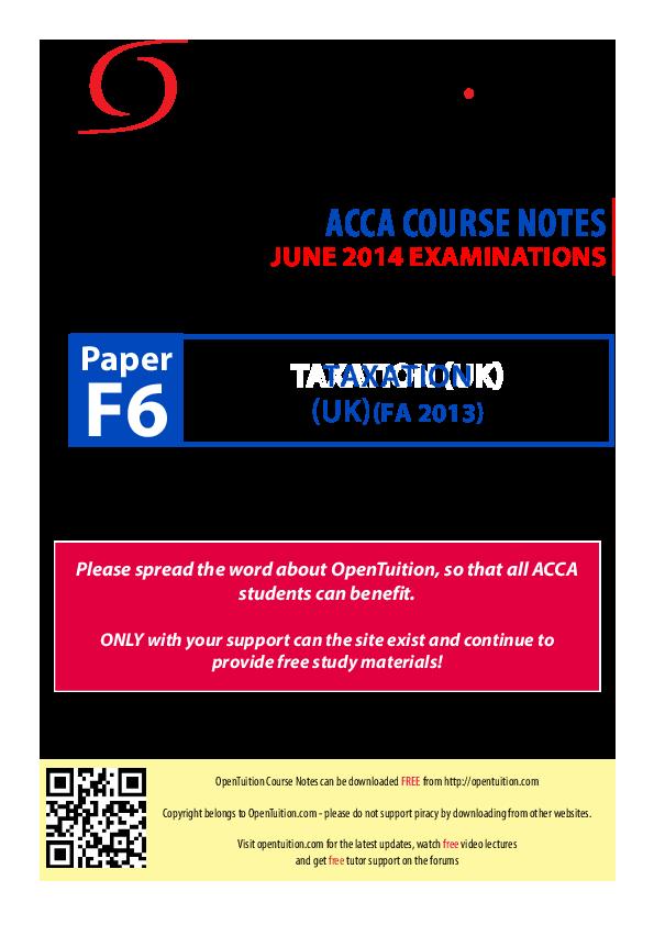 PDF) Paper F6 June 2014 Exams | Ahmad Abdulsalam - Academia edu