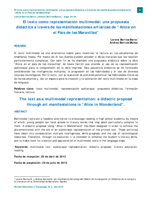 Pdf El Texto Como Representación Multimodal Una Propuesta
