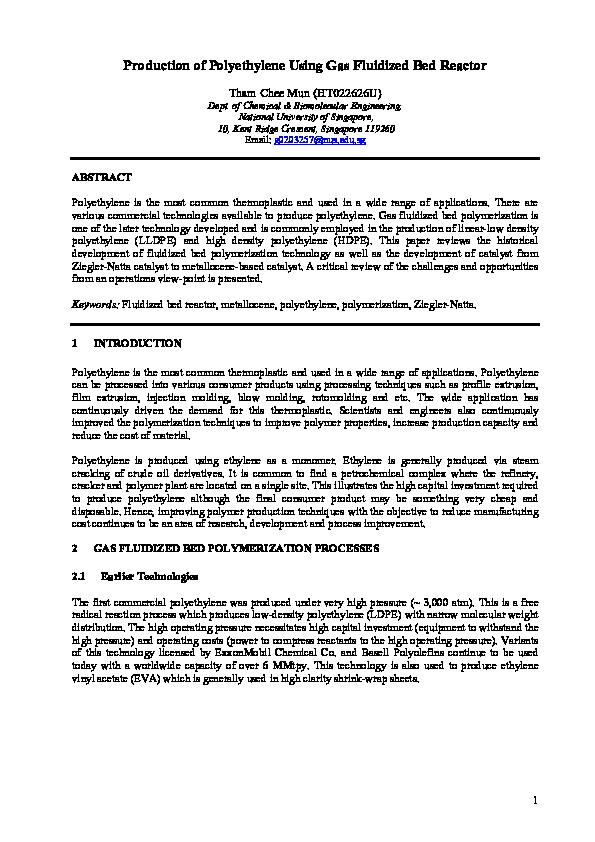 PDF) Production of Polyethylene Using Gas Fluidized Bed