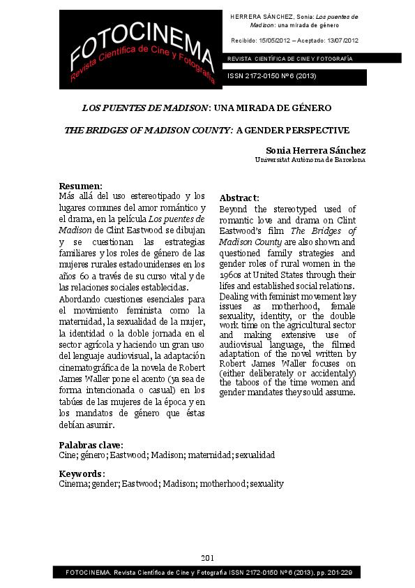 LOS PUENTES DE MADISON: UNA MIRADA DE GÉNERO / THE BRIDGES OF ...