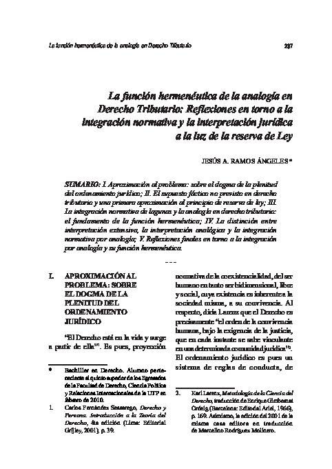 Pdf La Función Hermenéutica De La Analogía En Derecho