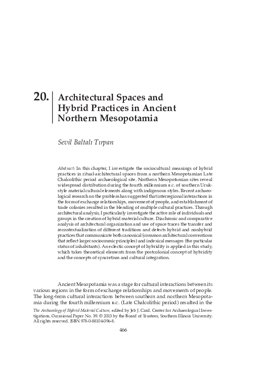 PDF) Architectural Spaces and Hybrid Practices in Ancient