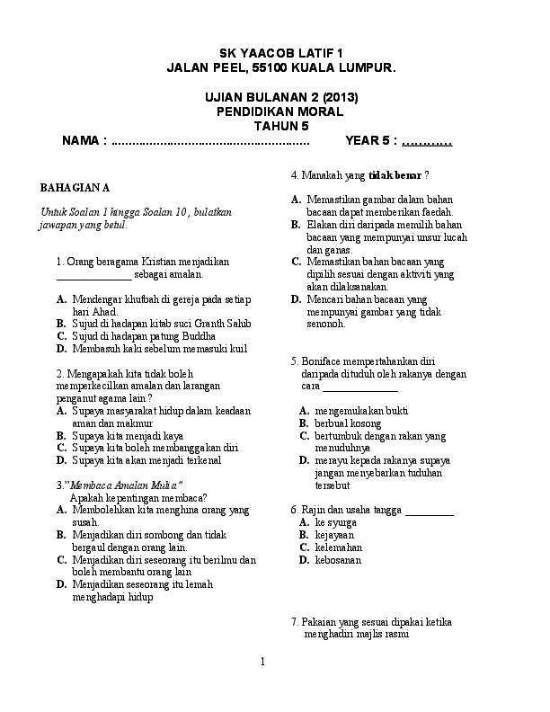Doc 30966536 Soalan Moral Tahun 5 Mohd Misnadie Academia Edu