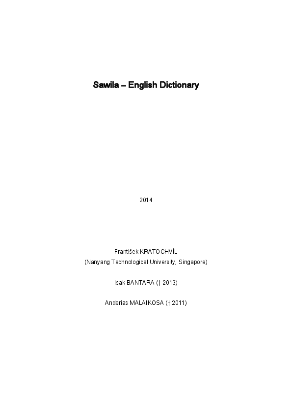 Kratochvil et al  2014 Sawila-English Dictionary | František