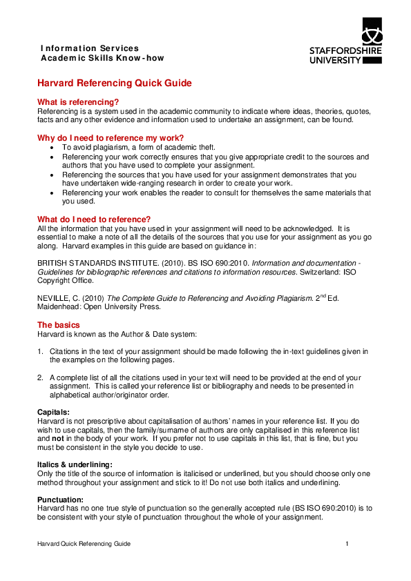 PDF) Harvard Quick Referencing Guide 1 | Hany Abdallah