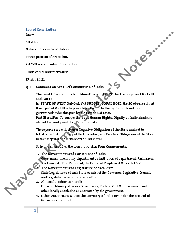 DOC) Exame note for Constitution of India | Naveen Kumar Shelar