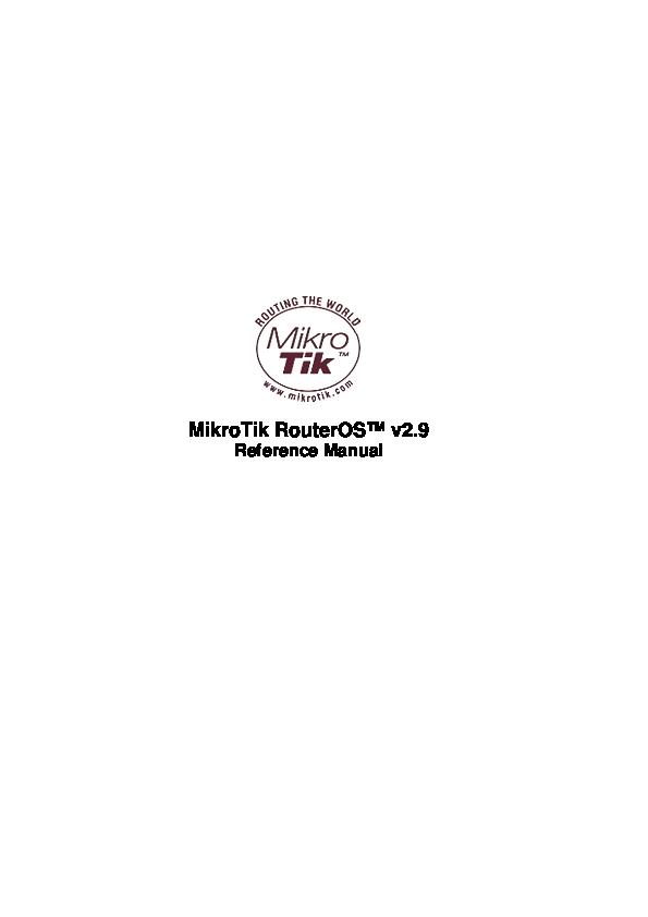 PDF) MikroTik RouterOS™ v2 9 | Iir Iir - Academia edu