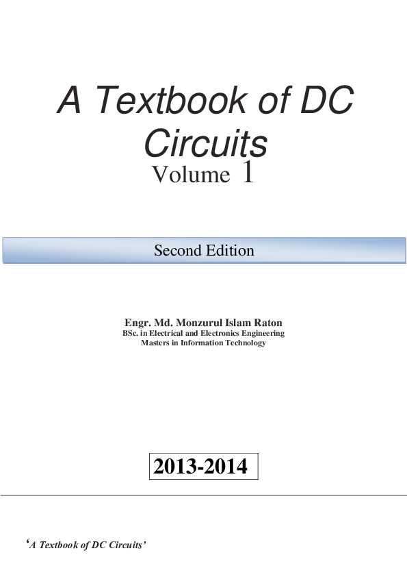 A Textbook of DC Circuits Volume 1 2013-2014