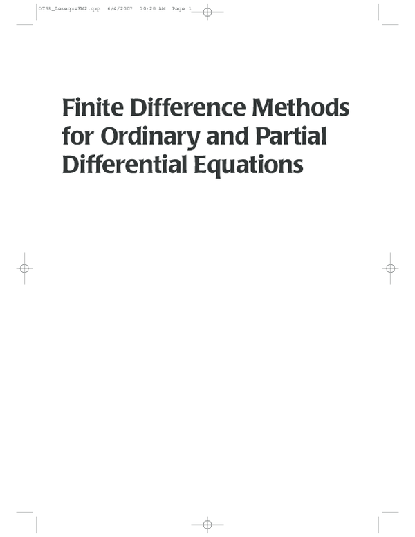 PDF) Finite Difference Methods for Ordinary and Partial Differential