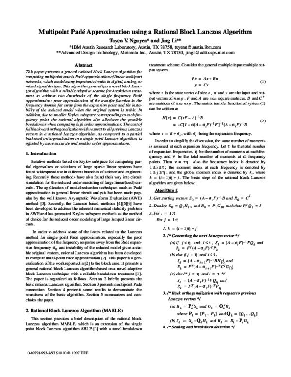 Pdf Multipoint Pade Approximation Using A Rational Block Lanczos Algorithm Tuyen Nguyen Academia Edu