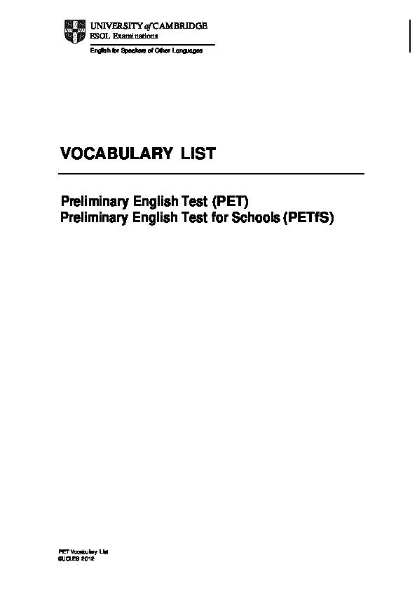 Cefr Vocabulary List