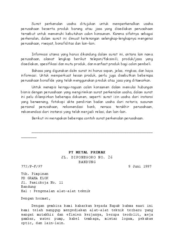 Doc Surat Perkenalan Usaha Ditujukan Untuk Memperkenalkan